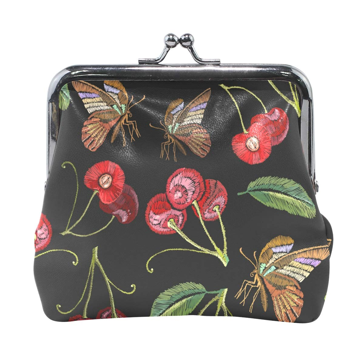 Fashion Womens Coin Purse Cherry Insect Patterns Vintage Pouch Mini Purse Wallets