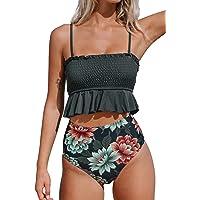 CUPSHE Women's High Waist Bikini Swimsuit Ruffle Two Piece Bathing Suit