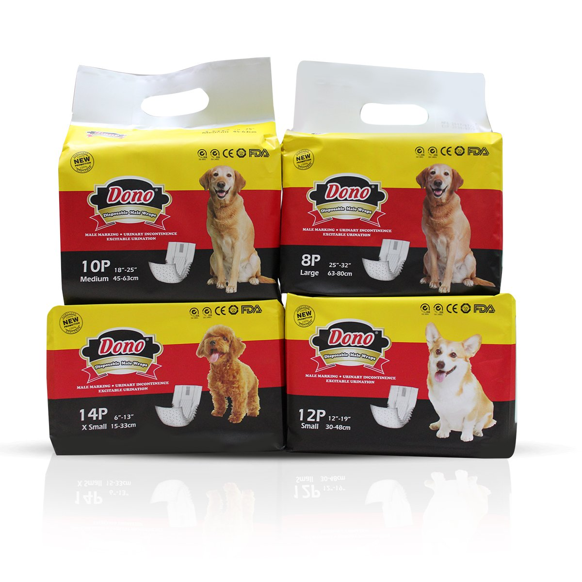 Pet Diaper Male Dog Diaper Pet Disposable Nappy Male Dog Diapers With Wetness Indicator DONO XS, S, M, L (XS): Amazon.es: Productos para mascotas