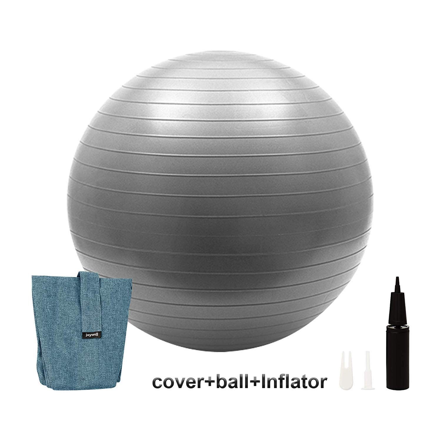 Joywell Handle for Home, Pilates, Yoga, Includes Exercise Ball with Pump Multi Function Foldable Storage Birthing Ball with forFitness,Classroom Flexible Seating - Anti Burst Ball for Yoga, (65,Blue)