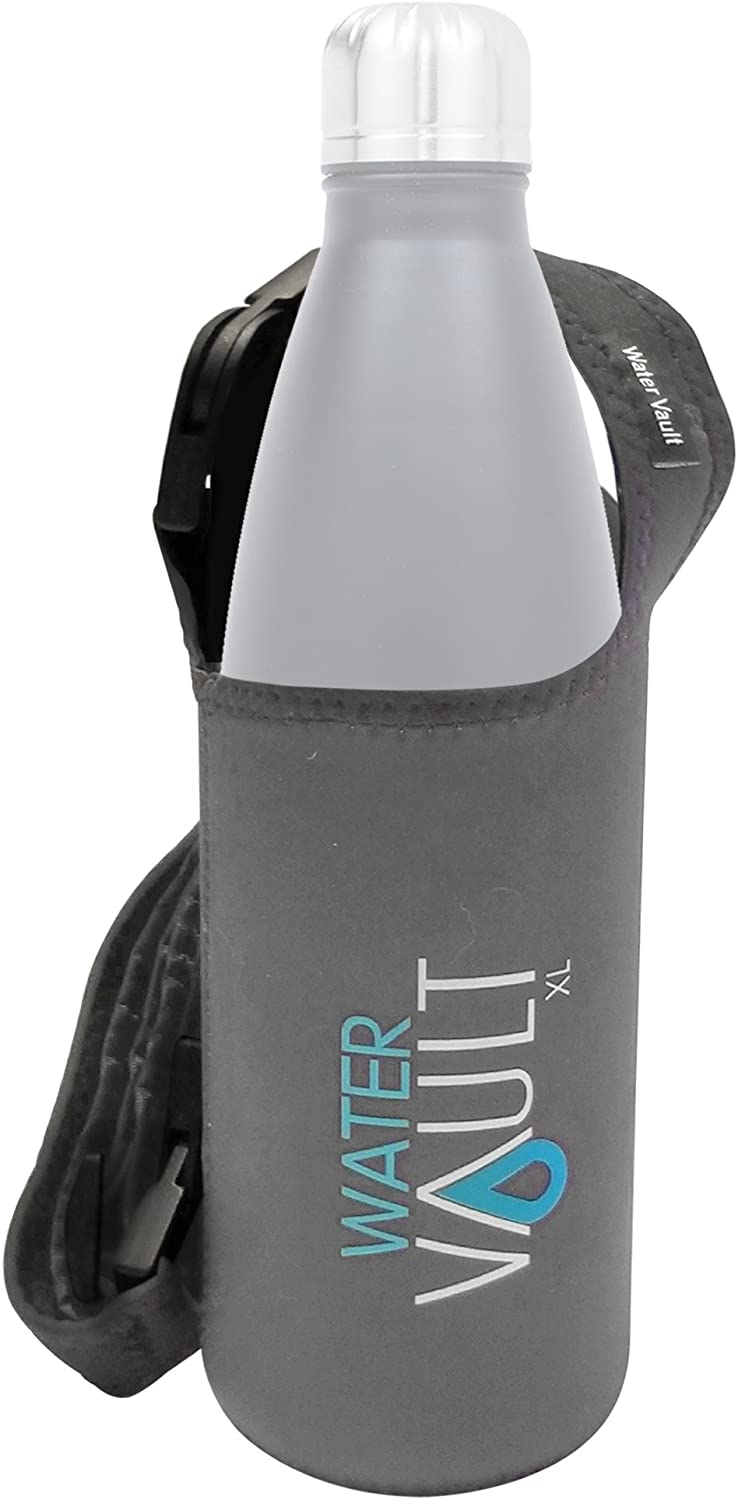 WaterVault Neoprene Bottle Sling, Water Bottle Holder with Adjustable Strap, Available in 2 Sizes: Regular & XL