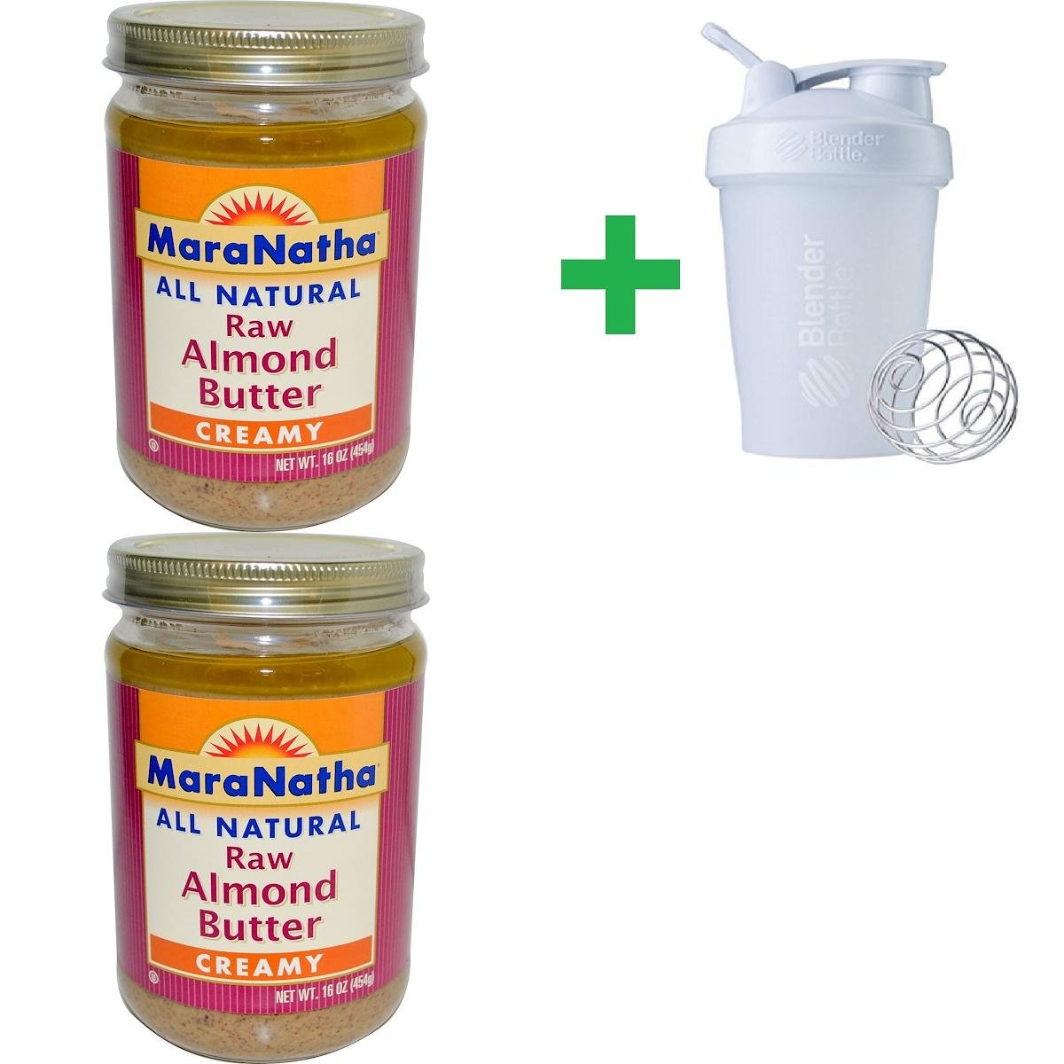 MaraNatha, All Natural Raw Almond Butter, Creamy, 16 oz (454 g) (2 PACKS) + Assorted Sundesa, BlenderBottle, Classic With Loop, 20 oz