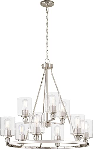 Minka Lavery Chandelier Pendant Lighting 3079-613 Studio 5 Dining Room Fixture, 9-Light 540 Watts, Polished Nickel