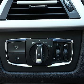 For 1 2 3 4 series F30 F34 X5 F15 2014-2017 Car Styling ABS Chrome Headlight Switch Decorative Sequins Trim 2pcs//set Matt silver