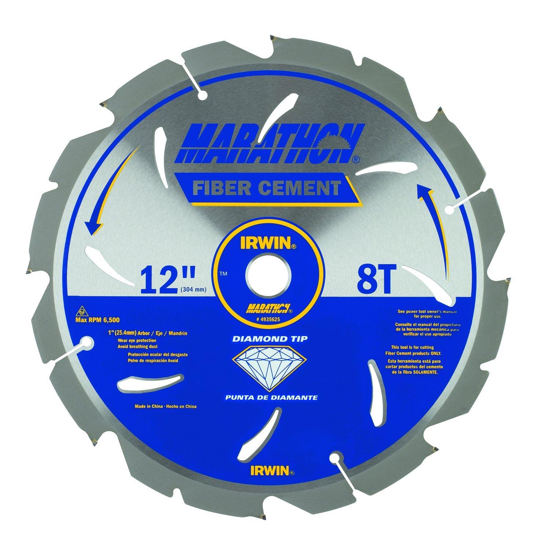 IRWIN Tools Fiber Cement PCD Circular Saw Blade, 12-Inch, 8T (4935625) by IRWIN