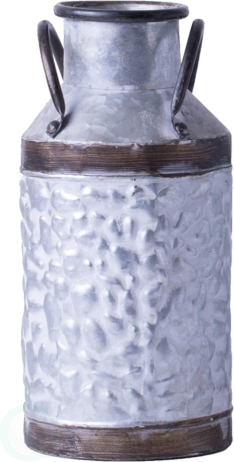 Vintiquewise QI003454.L Rustic Farmhouse Style Galvanized Metal Milk Can Decoration Planter and Vase, Large, Grey