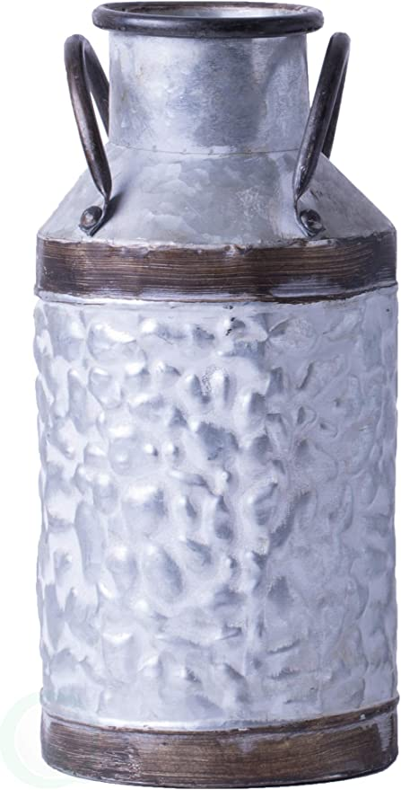 Vintiquewise Qi003454 S Rustic Farmhouse Style Galvanized Metal Milk Can Decoration Planter And Vase Grey Small Vases