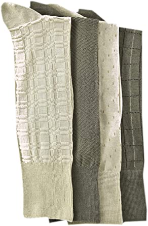 4 Pairs Charcoal or Khaki Kirkland Signature Men/'s Dress Socks