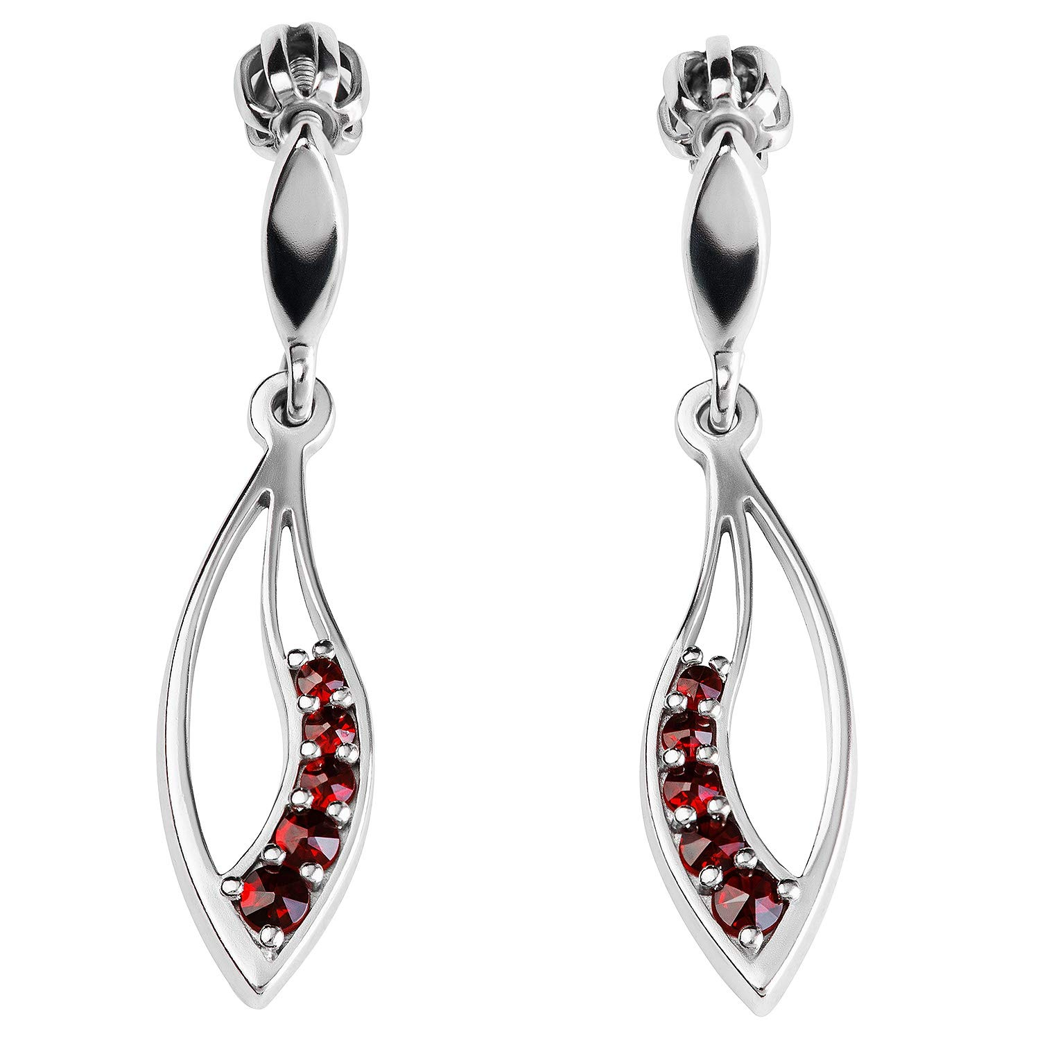 925 Sterling Silver Leaf Shaped Earrings with Natural Garnet Stones, 23x7mm by Verdster