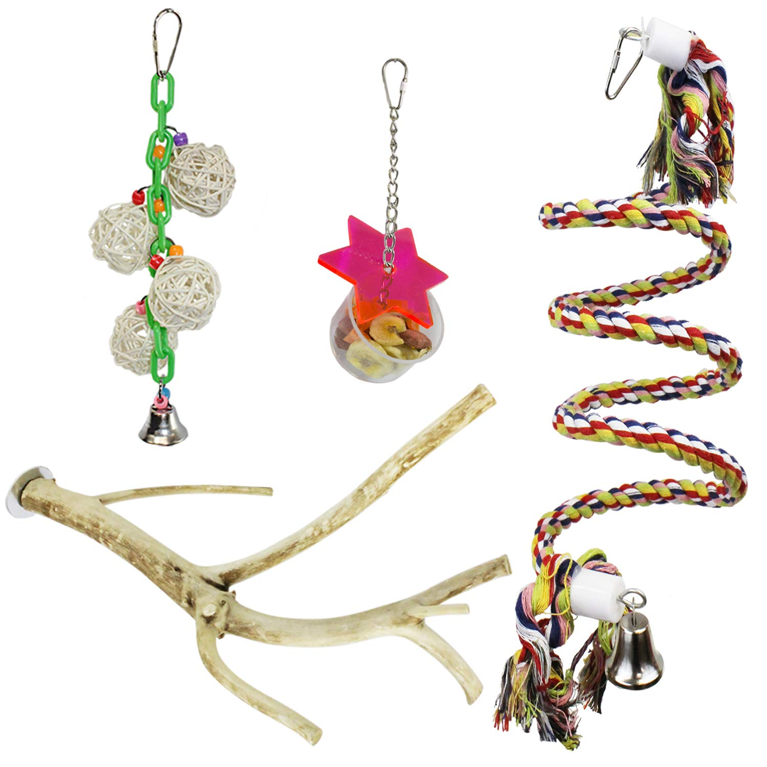 Cage Enhancement Set - Interactive Climbing Foraging Natural Branch Perch Cage Accessory Toy Bundle - For Sugar Gliders, Rats, Ferrets, Hamsters, Squirrels, Parrots, Birds, Marmosets, Degus, Monkeys by Exotic Nutrition