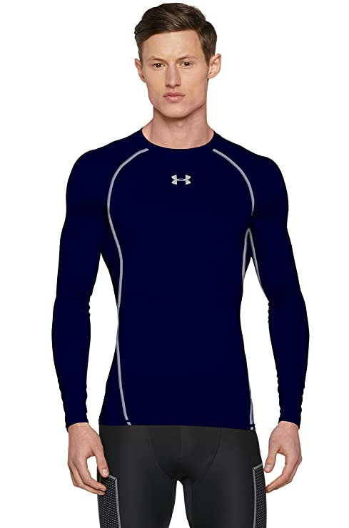 Under Armour Men's HeatGear Armour Long Sleeve Compression Shirt, Midnight  Navy/Steel, X