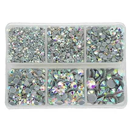 b588938117f Queenme 3300pcs AB Hotfix Crystals Mixed Size Flatback Rhinestones for  Clothes Shoes Crafts Hot Fix Round