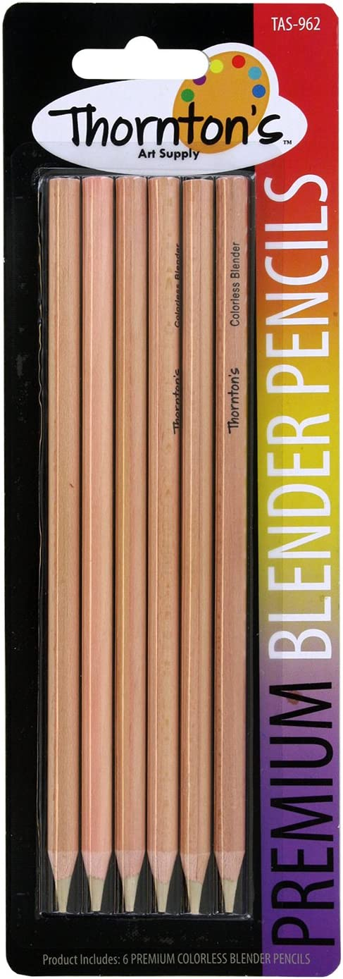 Thornton's Art Supply Premium Colorless Blender Pencil Wax Based for Drawing Sketching Blending Shading | Kids and Adult Artwork | Pack of 6