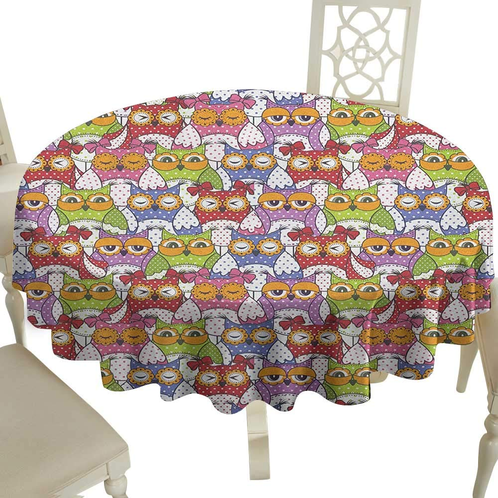 100% Polyester Washable Table Cloth for Circular Table 70 Inch Owl,Ornate Owl Crowd with Different Sights and Polka Dots Like Matryoshka Dolls Fun Retro Theme Multi Great for,restauran & More by Cranekey
