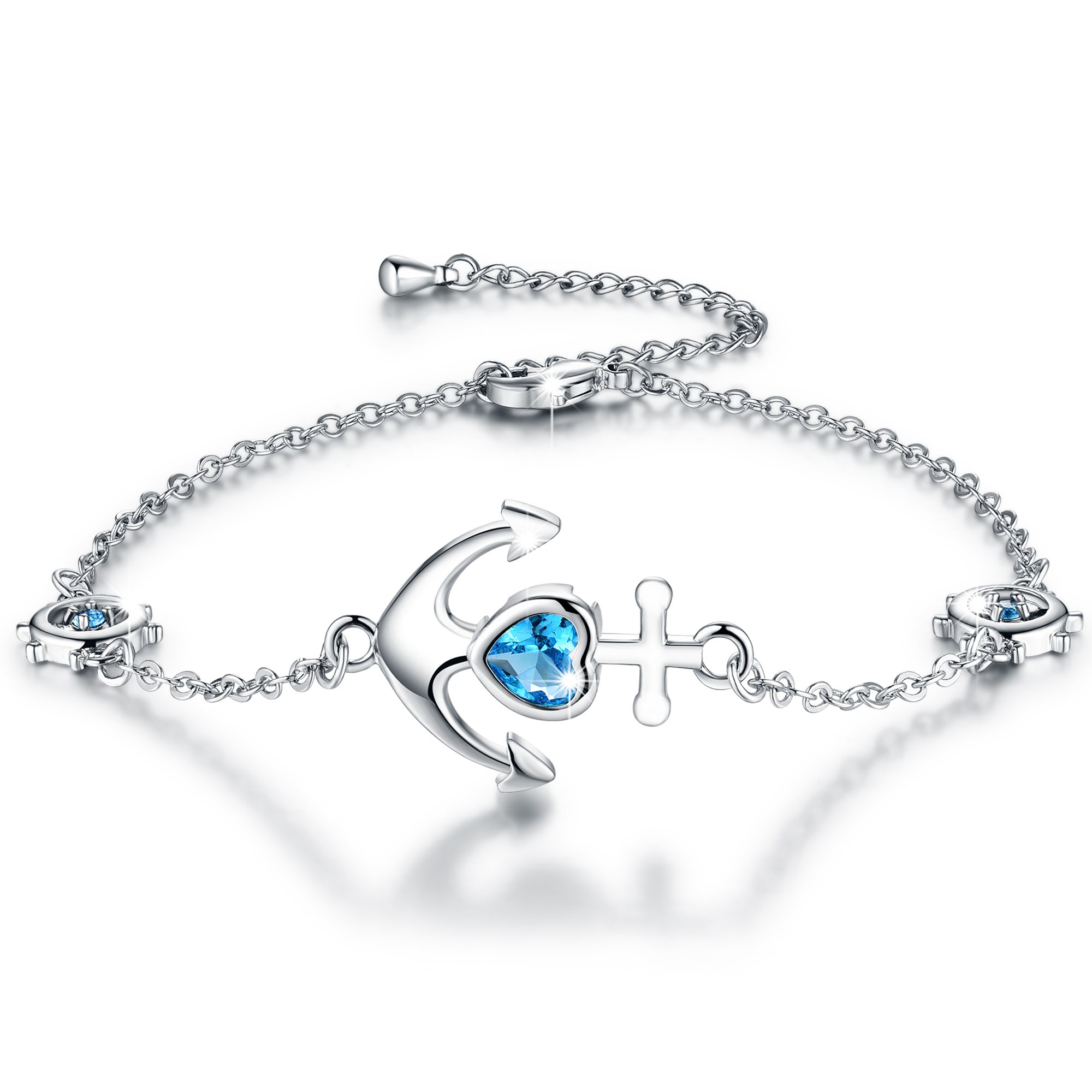 Boniris 925 Sterling Silver Anchor Heart Bracelet Womens Sailor Symbol Love Jewelry with Sapphire for Mother's Day, Birthday