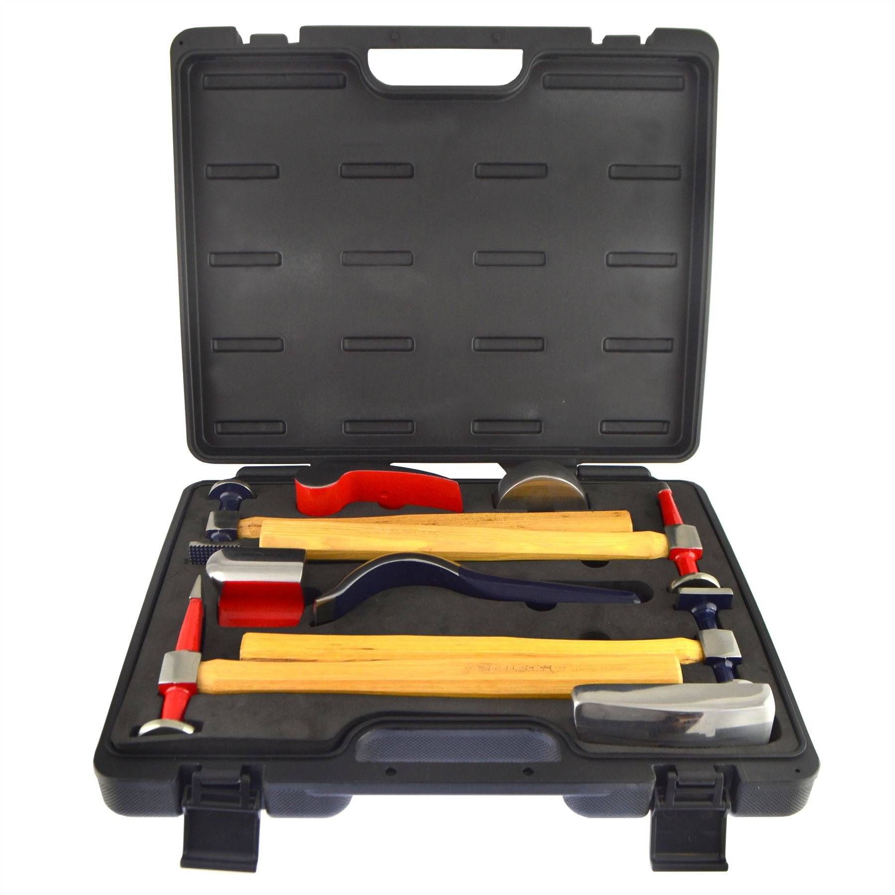 Auto body Repair Kit Panel Beating Hickory Hammers Dollies Shrinking Moulding 9pc