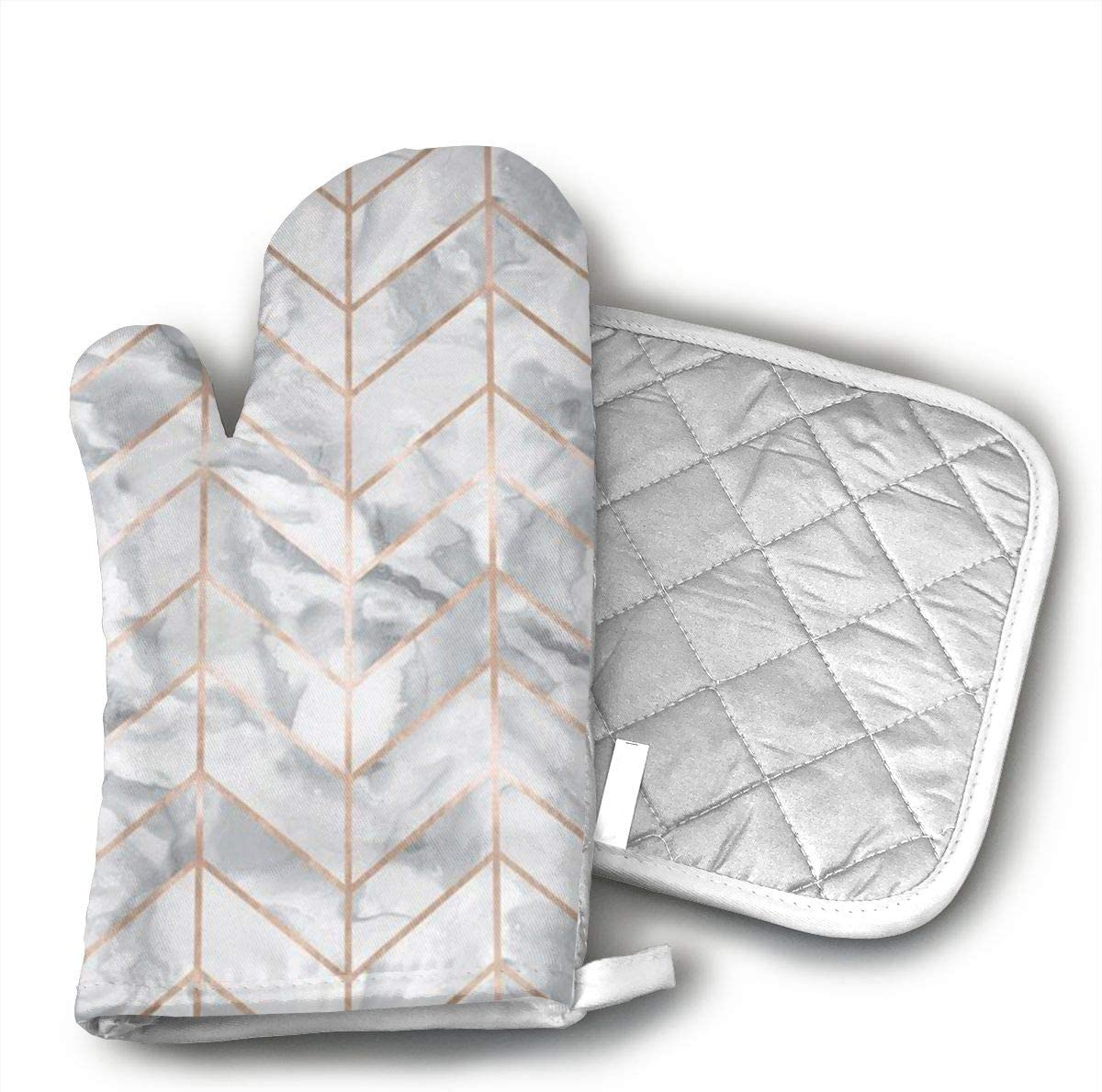Wiqo9 Marble Herringbone Rose Gold Gilt Design Oven Mitts and Pot Holders Kitchen Mitten Cooking Gloves,Cooking, Baking, BBQ.