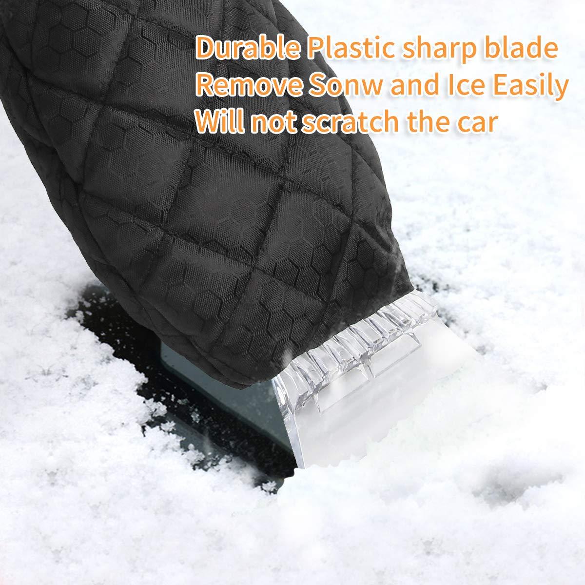 YIBEICO 2 Pack Ice Scraper Black Elastic Wristband Windscreen Ice Scraper Mitts Waterproof Keep Hand Warm Car Windshield Snow Scrapers
