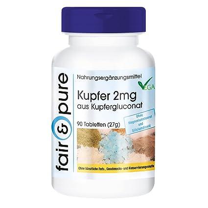 90 comprimidos vegetarianas de gluconato de cobre (2 mg) - Sustancia pura y sin
