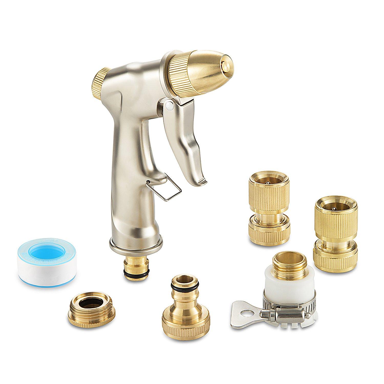 Garden High Pressure Spray Gun Set - Includes Multi Watering Gardening Metal Sprayer, Brass Hose Fitting Connector Kit, PTFE Seal Tape White HCM