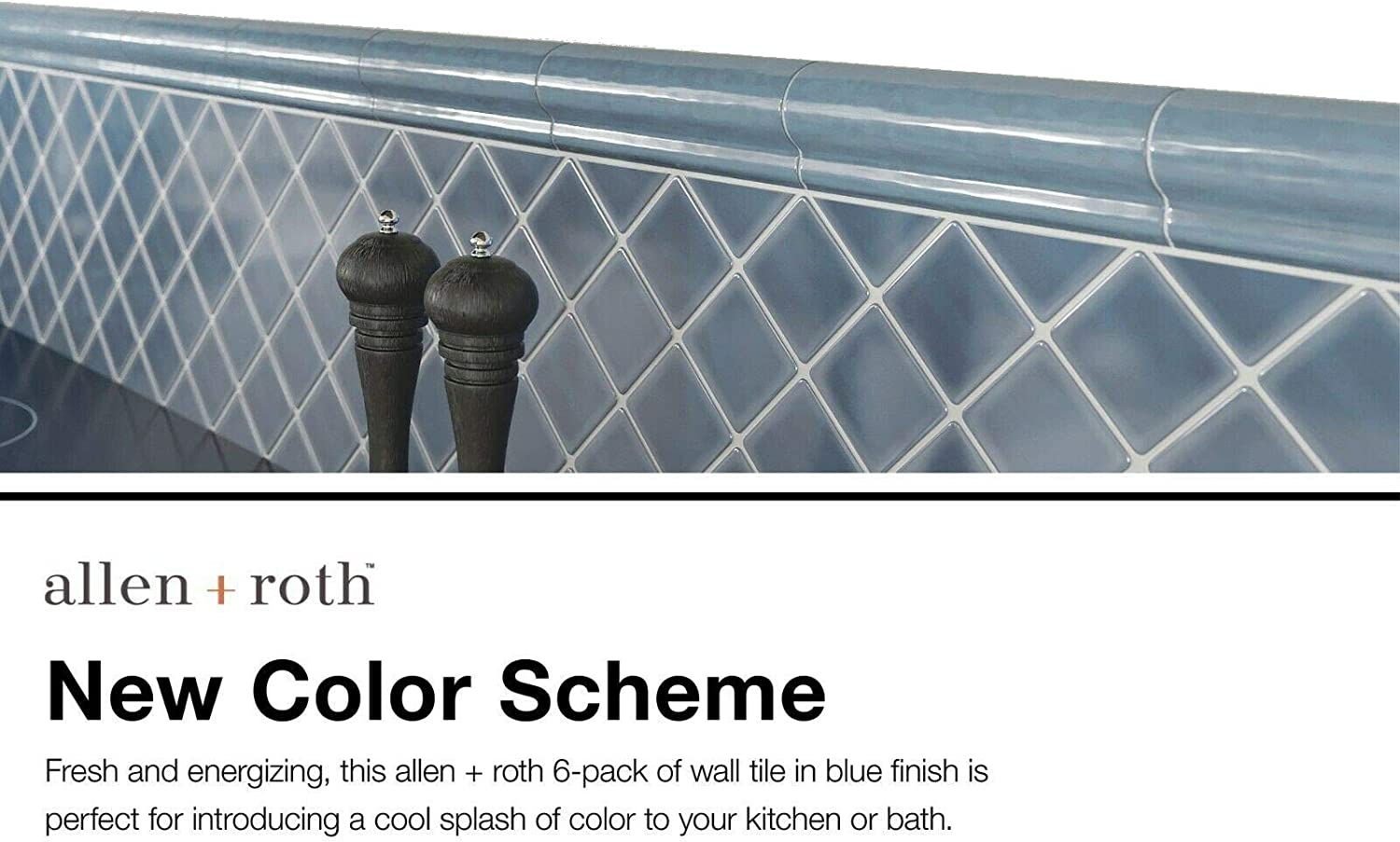 - Allen + Roth 6-Pack Blue Ceramic Wall Tile (Common: 2-in X 6-in