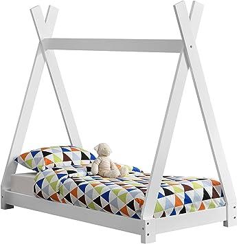 en.casa] Cama para niños pequeños Cama Infantil 140 x 70cm Estructura Tipi de Madera Pino Blanco Mate: Amazon.es: Hogar