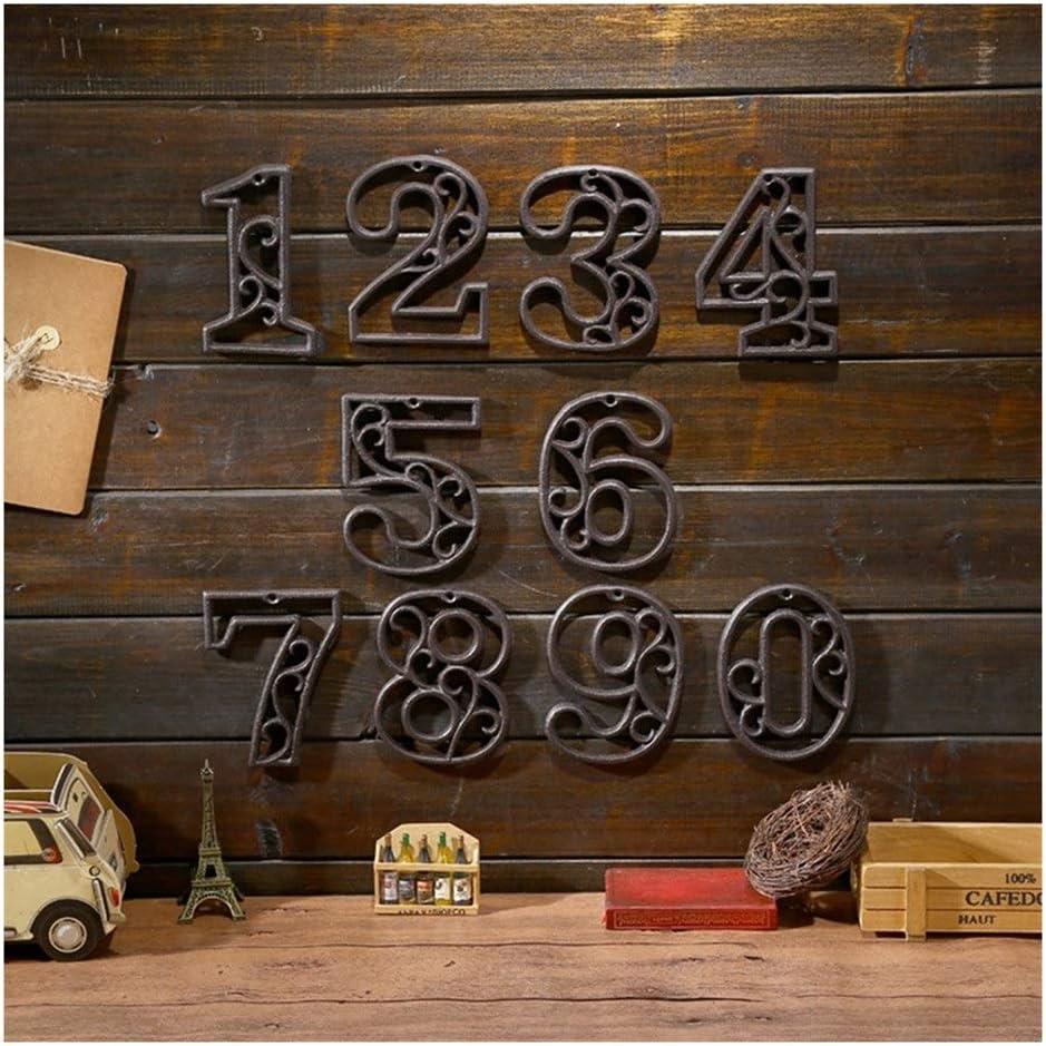 Color : #1 0-9 Industrial Cast Iron House Num/éro De Style Am/éricain Porte Chiffres Adresse Nombre du Restaurant Living Wall Chambre Nombre