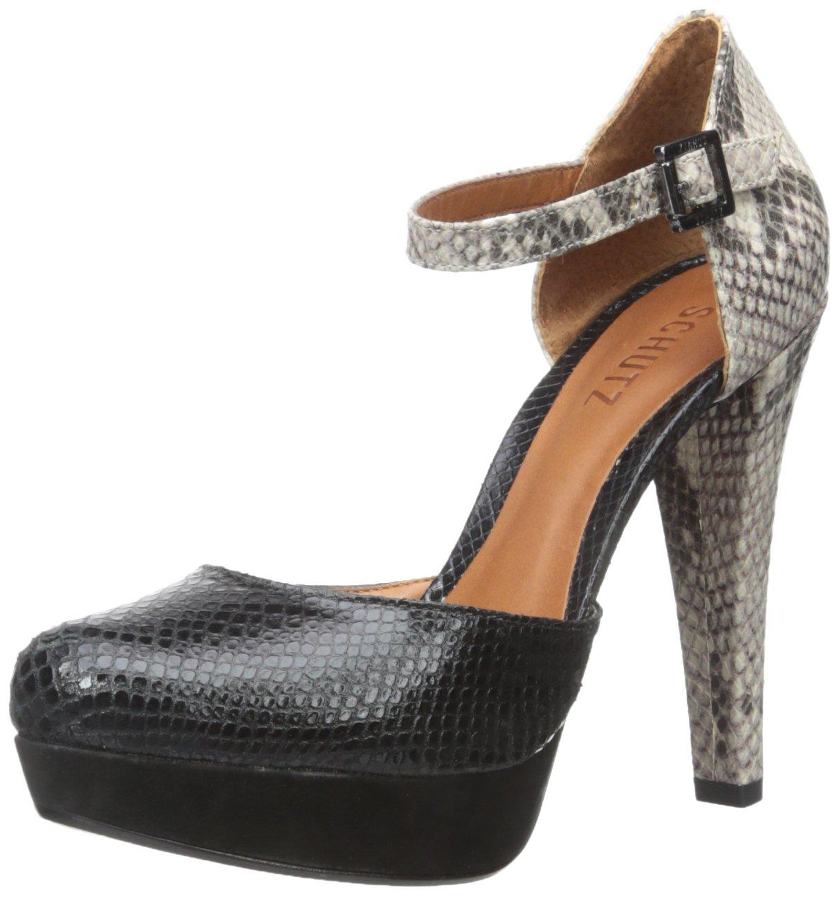 Schutz Women's Etta Sandal, Black/Natural Snake, 8 M US