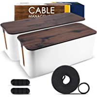 2 Pack Cable Management Box – Large & Medium Wooden Style Cord Organizer Box and Cover for TV Wires, Computer, Router…