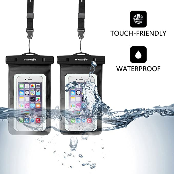 [2-Pack] Funda Impermeable Móviles, BlitzWolf Certificado IPX8 Bolsa Sumergible, Bolsa Táctil con Correa para iPhone SE/7/7 Plus/6S Plus/6S/6, ...