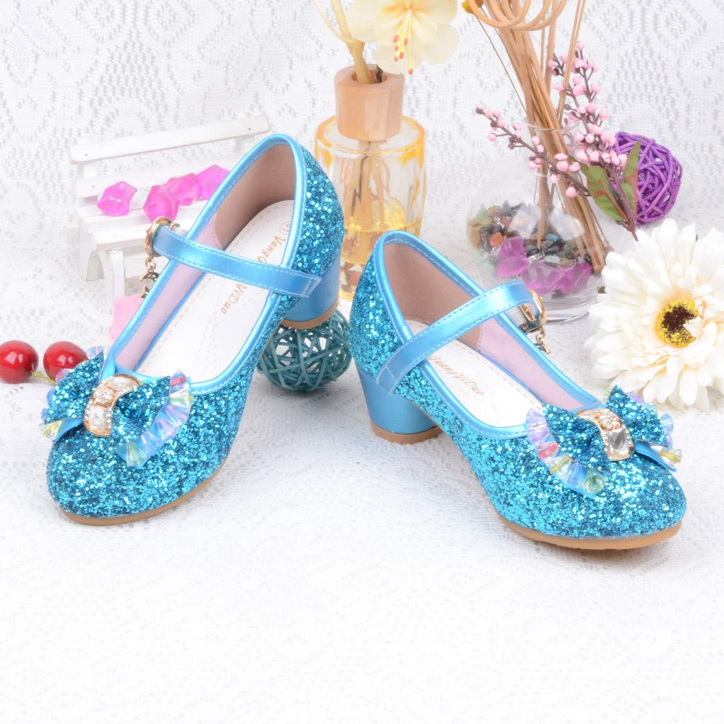 Voberry Kids Baby Mary Jane Crystal Dress Shoes for Girls Princess Bowknot Sandals