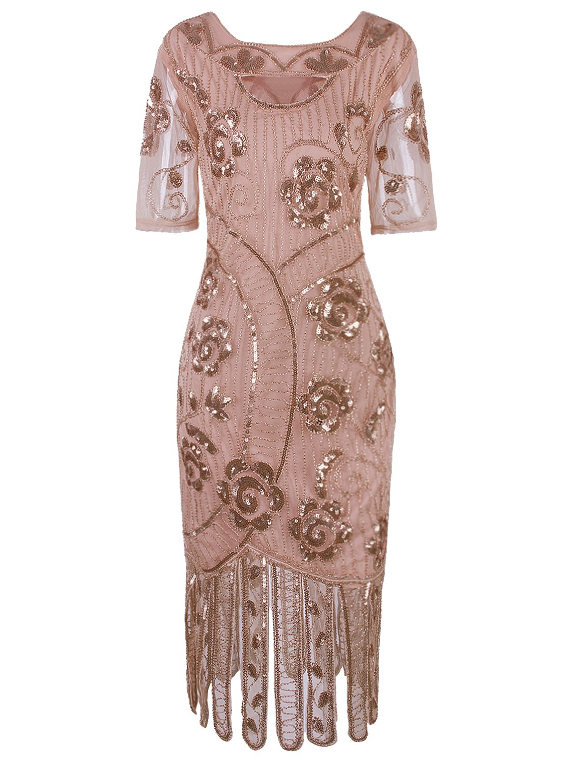 Vijiv Women's Vintage 1920s Style Sequined Beaded Roaring 20s Long Gatsby Flapper Dress with Sleeves for Themed Party, Beige X-Large
