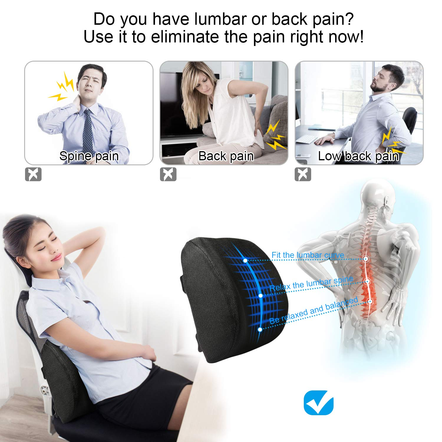 Tdbest Lumbar Support Pillow Premium Cooling Gel and Memory Foam Lumbar Cushion Lower Back Pain Cushion (Black)