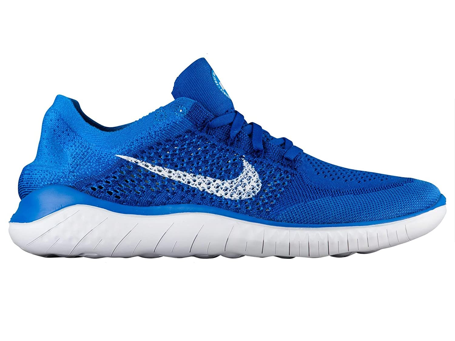 release date 5bebd 2173c Amazon.com   NIKE Men s Free Rn Flyknit 2018 Game Royal White Photo Blue  Nylon Running Shoes 10.5 D(M) US   Road Running
