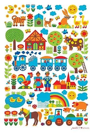 ByGraziela Kinderzimmer Poster: Bauernhof 50 X 70 Cm Retro