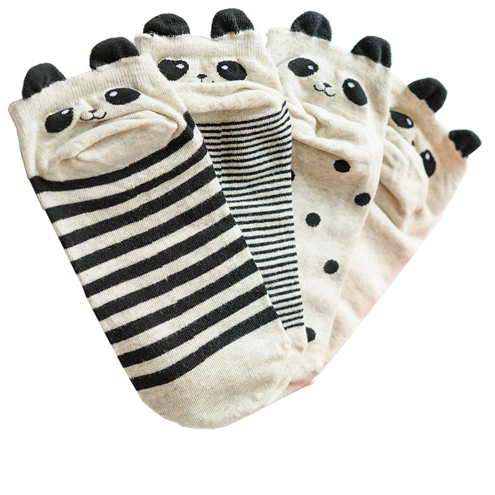 4 Pairs Girls' Panda Cotton Casual Low Cut Socks