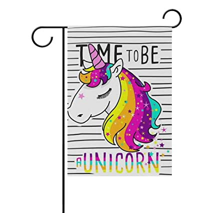 ClustersN Cute Magical Unicorn Double-Sided Printed Garden House Sports  Flag - 12x18(in) - 100% Premium Polyester Decorative Flags for Courtyard