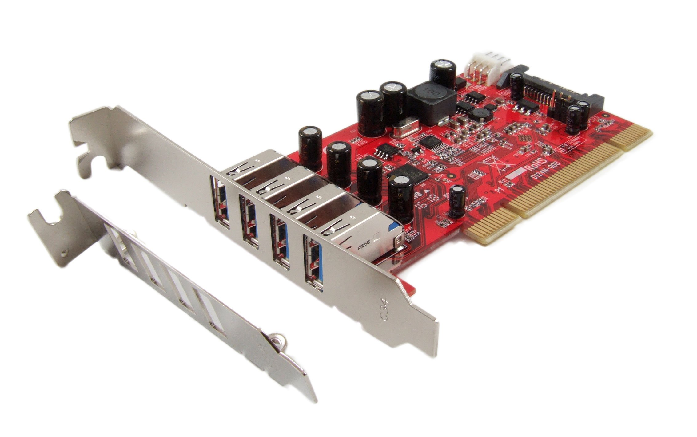 Ableconn PCI-UB124 USB 3.0 4-Port Low Profile PCI Host Adapter Card - Renesas NEC UPD720201 chipset by Ableconn