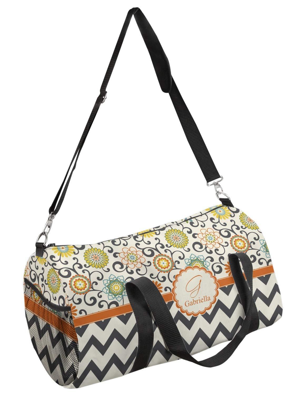 Personalized YouCustomizeIt Chevron /& Fall Flowers Duffel Bag