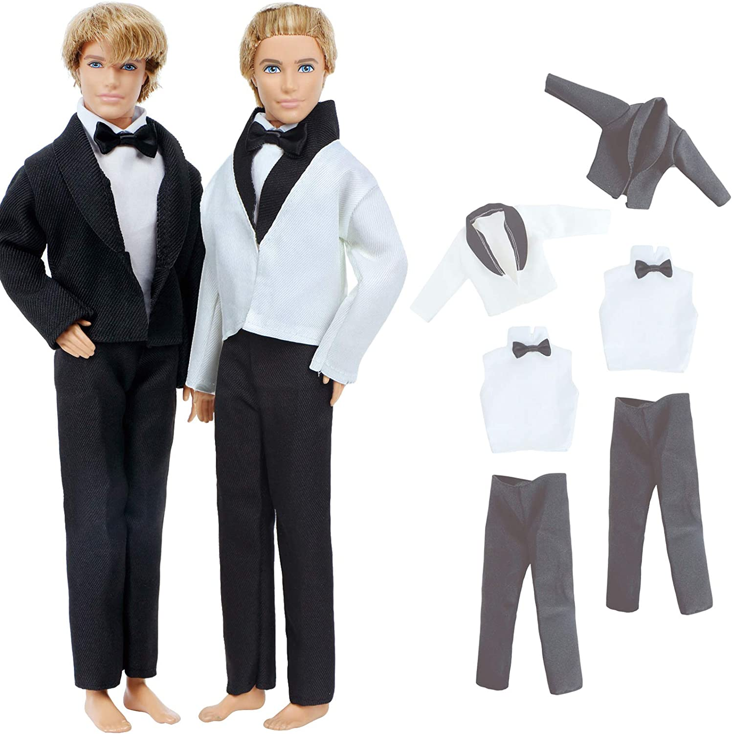 BJDBUS 2 Sets Formal Office Suits Including Black Coat , White Coat , White Shirt with Bow-Knot , Black Trousers Groom Wedding Tuxedo for 11.5 Inch Boy Doll Clothes