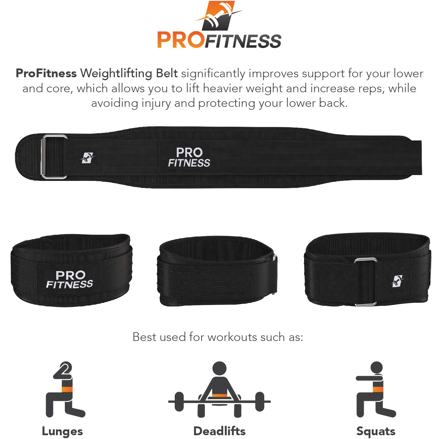 ProFitness Weight Lifting Belt 4 Inchs Wide – Comfortable Durable Weightlifting Workout Belt – Great Lower Back Lumbar Support for Squats, Deadlifts, Gym Workouts – for Men Women