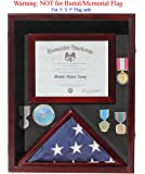 Military Shadow Box 3'X5' Flag Display Case, for 3'X5' Flag, Certificate, Medals, FC17-MAH by DisplayGifts