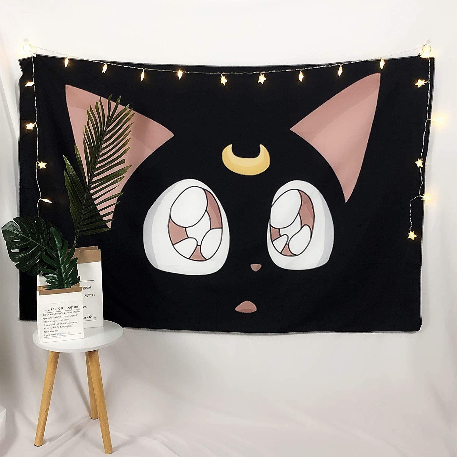 Sailor Moon Cat Luna Tapestry Poster, Boutique Cute Tapestry Wall Hanging Anime Wall Decorations for Living Room Bedroom Home Decor (60 x 51 in)