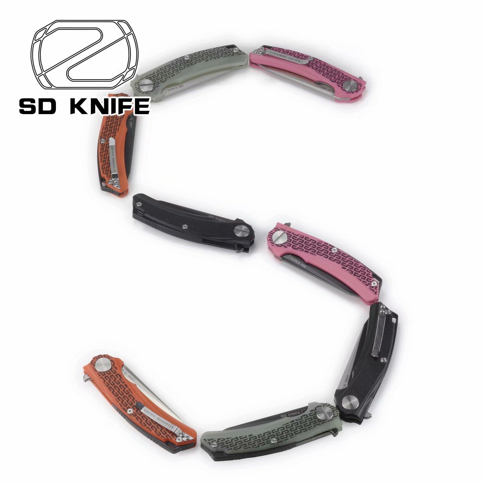 Stedemon Outdoor pocket folding Flipper knife - Tactical G10 Jade Handle - Swenden Sandvik 14C27N Stainless steel Satin Blade Finish - BG0103- Folded Knives