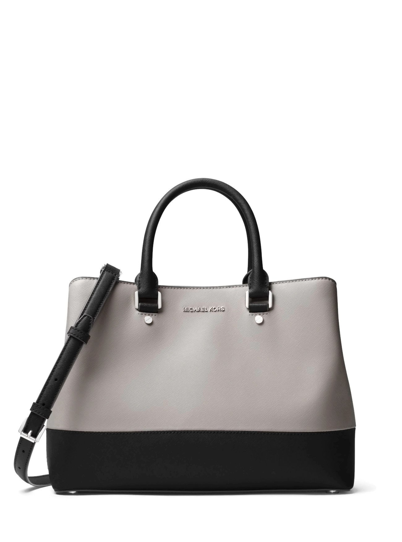 MICHAEL Michael Kors Savannah Large Satchel (Pearl Grey/Black)