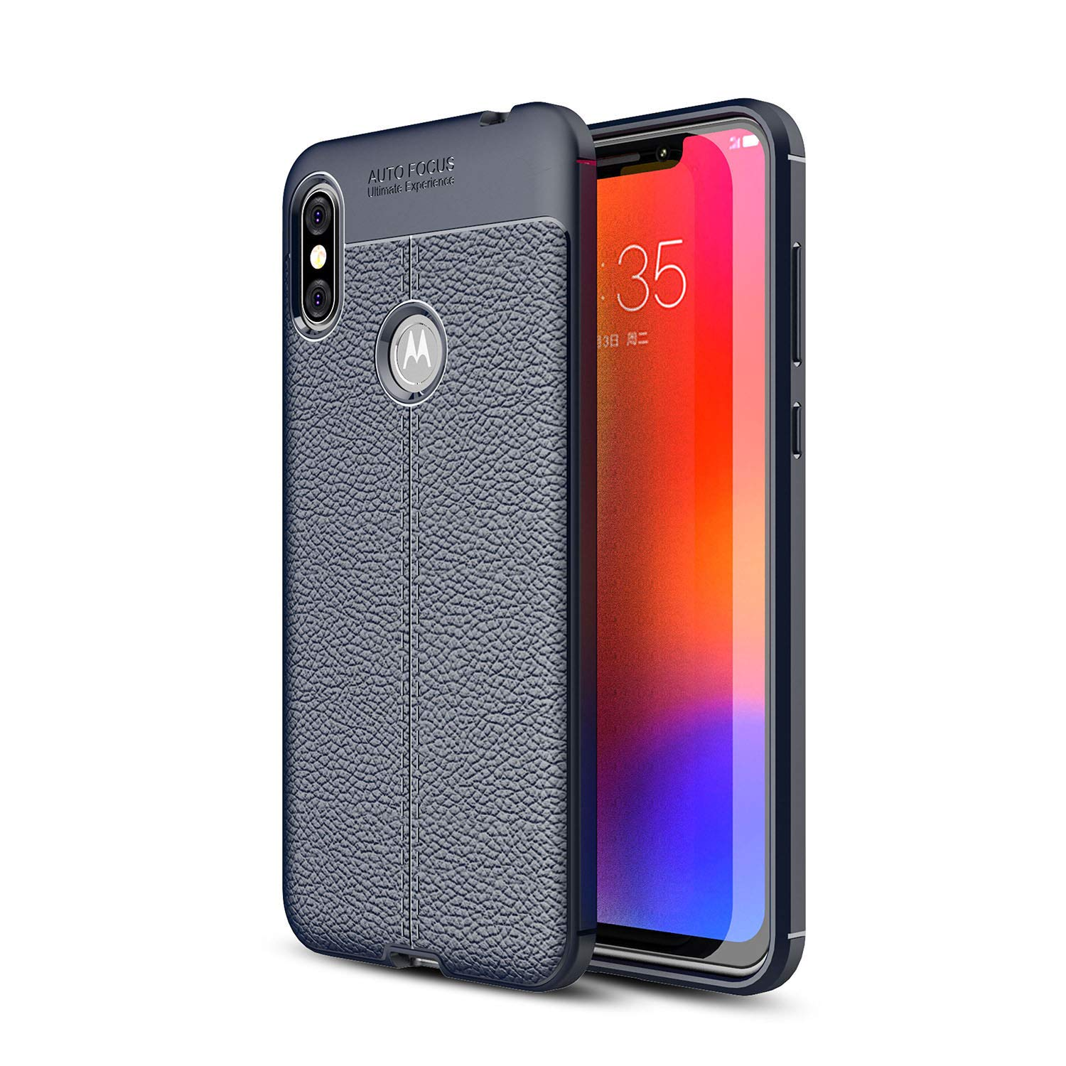 DEVMO Phone Case Compatible with Moto One Power TPU Bionic Leather Gel Rubber Full Body Protection Shockproof Cover Case Drop Protection Black