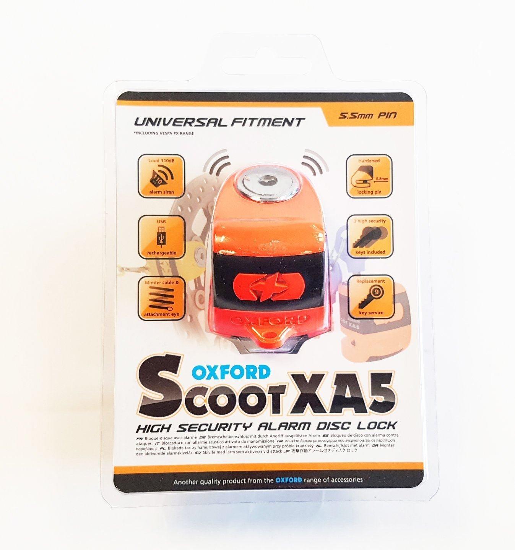 PIAGGIO VESPA PRIMAVERA 50 Oxford SCOOT XA5 Alarm Disc Lock Bike Orange LK288