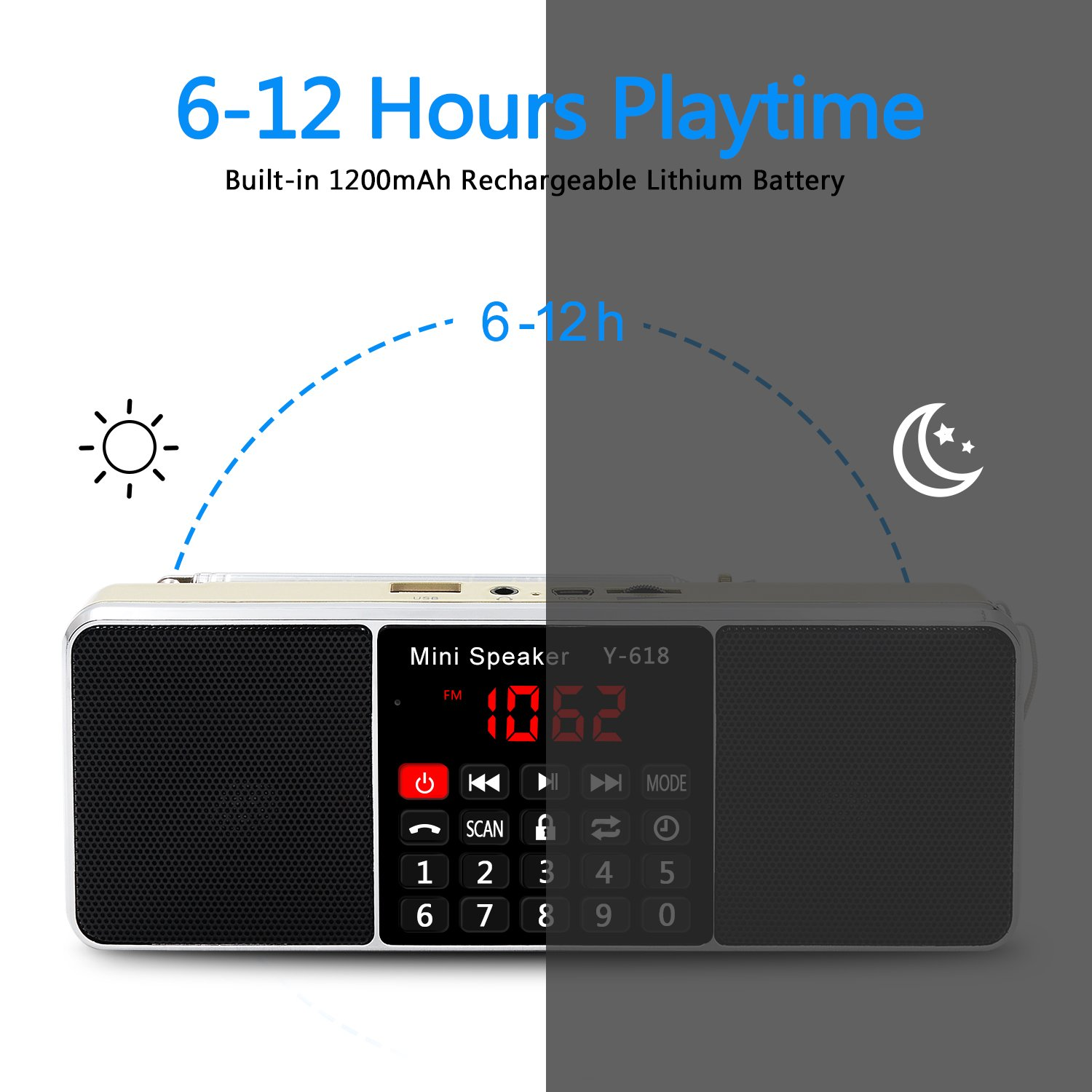 LEFON Multifunction Digital AM FM Radio Bluetooth Media Speaker MP3 Music Player Support TF Card/USB Disk with LED Screen Display and Setting Timing Shutdown Function (Gold-Upgraded Version) by Lefon (Image #4)