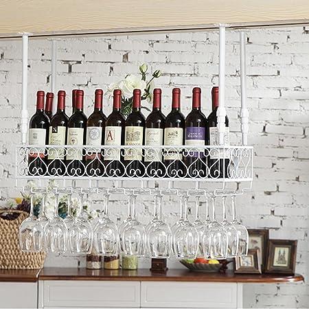 Estante Estante del vino montado del metal montado la barra hierro retro europeo que cuelga cerveza al revés y estante invertido del cubilete del estante de la botella para la cocina el restauran