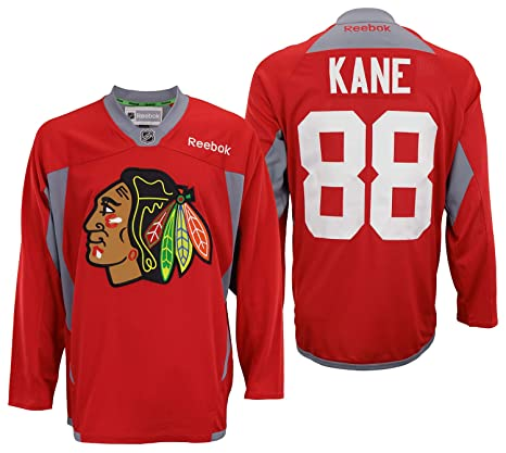 f74b44267ce NHL Mens Chicago Blackhawks Patrick Kane #88 Practice Jersey Red, X-Large
